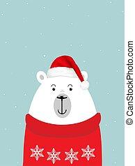 polar bear in a red winter sweater