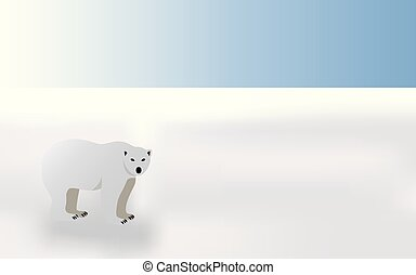 Polar bear in winter landscape