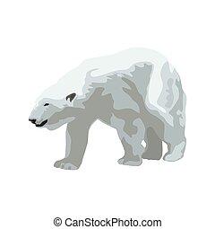 Polar bear, isolated vector illustration