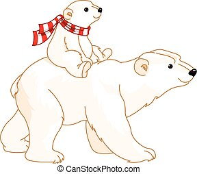 Polar Bear mom and baby riding on her back