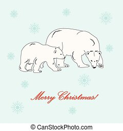 Polar bear mother and baby.
