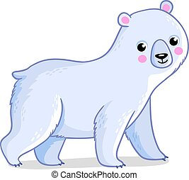Polar bear on a white background. Vector illustration with.