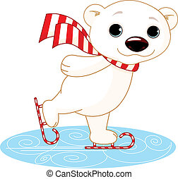 Polar bear on ice skates - Illustration of cute polar bear...