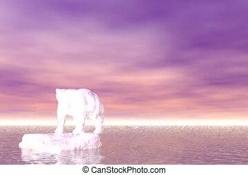 Polar Bear on Iceberg - Global warming concept with polar...