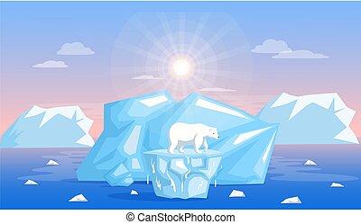 Polar bear on melting from global warming, climate change glacier on background of iceberg
