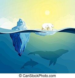 Polar Bear on polar pole, global warming concept