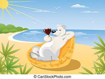 Polar Bear On The Beach