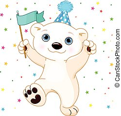 Polar Bear Party - Illustration of cute polar bear...