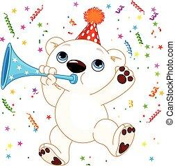 Polar bear party - Illustration of cute polar bear ...