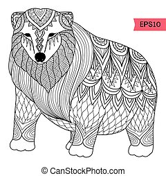 Polar bear - Polar line art design for coloring book for...