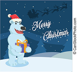 polar bear receive christmas present from santa