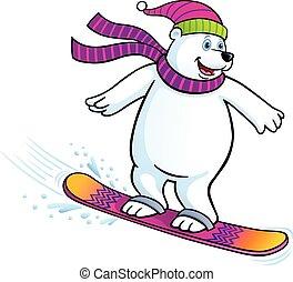 Polar Bear Snowboarding - Cartoon illustration of a polar...
