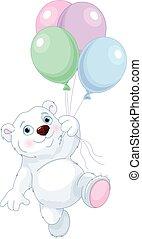 polar bear, vliegen, met, ballons