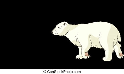Polar Bear Walks Alpha - Big Polar Bear Walks. Light brown...