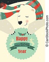 Polar bear wishing you Merry Christmas. Vector greeting card