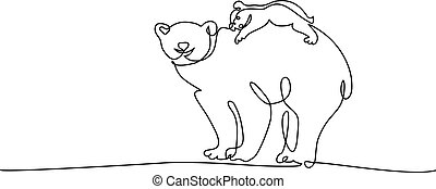 Polar bear with baby cub one line drawing