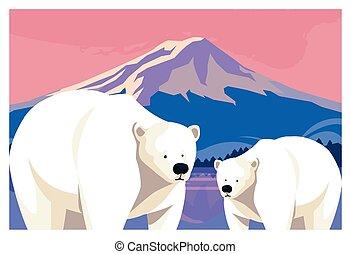 polar bear with cub at the north pole, arctic landscape