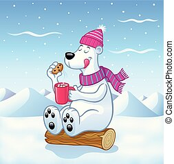 Polar Bear with Hot Cocoa - Cartoon of a polar bear with a...