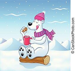 Polar Bear with Hot Cocoa - Cartoon of a polar bear with a...