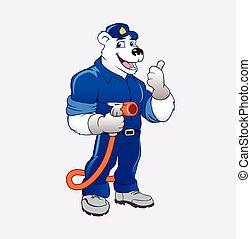 polar bear with oil gas pump