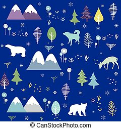Polar bear, wolf, deer, mountain and forest pattern background. Winter cold pattern.