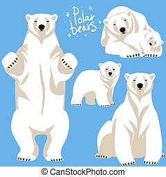 Polar Bears collection. Clip art isolated on blue