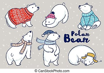Polar Bears collection in colorful sweater, scarf and hat.