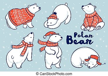 Polar Bears collection in red sweater, scarf and hat.
