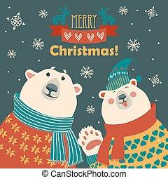 Polar bears say hello - Two friends, polar bears say hello,...