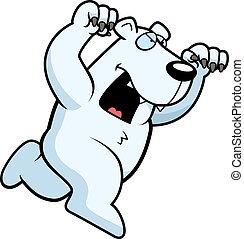 polar, caricatura, oso, atacar