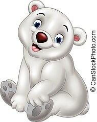 polar, caricatura, urso, sentando