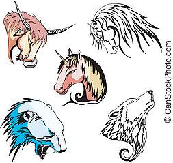 polar, cavalo, cabeças, touro, unicórnio, urso, lobo