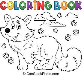 polar, coloração, raposa, 1, tema, livro