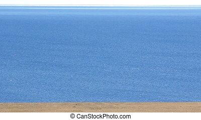 Polar desert shores of Novaya Zemlya and blue Barents sea with abundance  birds