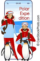 Polar expedition cartoon smartphone vector app screen. Antarctical journey. Mobile phone displays with flat character design mockup. North exploration application telephone cute interface