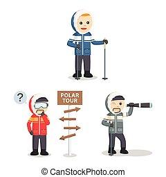 polar explorer set illustration design