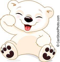 polar, feliz, oso