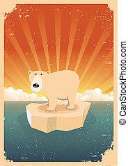 polar, grunge, vindima, urso, cartaz, branca
