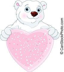 polar, hjerte, bjørn, tegn, facon, holde