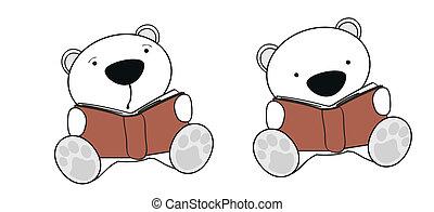 polar, jogo, urso, bebê, leitura, caricatura