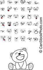 polar, lindo, sentado, oso, bebé, caricatura