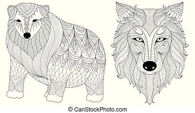 polar, lobo, urso