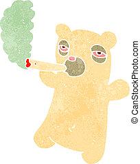polar, marijuana, urso, conjunto, retro, fumar, caricatura