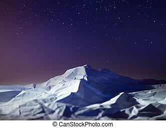 polar night mountain landscape star sky South pole...