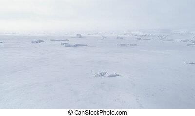 Polar ocean frozen water surface aerial view - Polar Ocean...