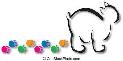 polar, pegadas, urso, coloridos