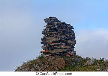 polar, piedra, construido,  cairn, medianoche, ocaso, día