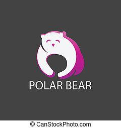 polar, plano de fondo, gris, oso