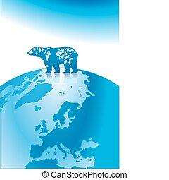 polar, poste, norte, oso