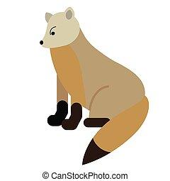 polar, raposa branca, ilustração, apartamento